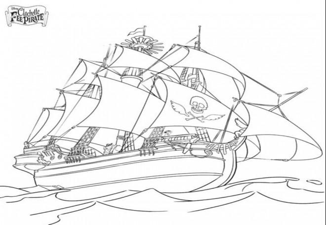 Coloriage et dessins gratuits Bateau Pirate de Fée Clochette à imprimer