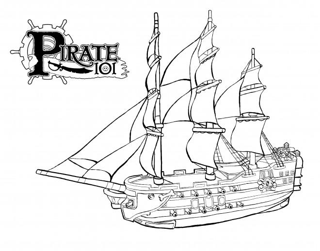 Coloriage bateau pirate de l 39 antiquit dessin gratuit - Coloriage bateau de pirate ...