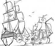Coloriage Bateau Pirate en bataille