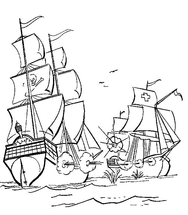 Coloriage bateau pirate en bataille dessin gratuit imprimer - Coloriage bateau a imprimer ...