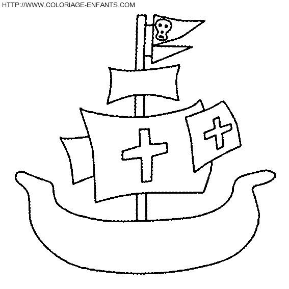 Coloriage et dessins gratuits Bateau Pirate en perspective à imprimer