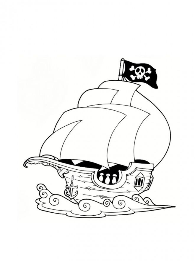 Coloriage et dessins gratuits Bateau Pirate facile à décorer à imprimer