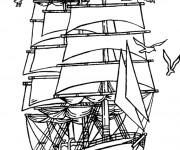 Coloriage Bateau  pirate flotte sur la mer