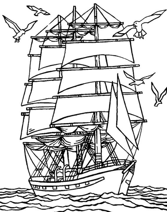 Coloriage Bateau Pirate Flotte Sur La Mer Dessin Gratuit à