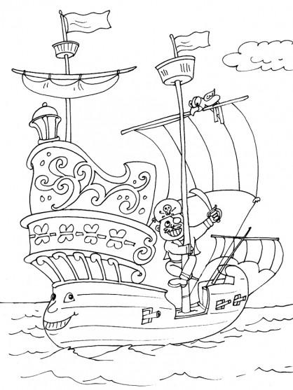 Coloriage et dessins gratuits Bateau Pirate rigolo à imprimer