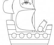 Coloriage Bateau Pirate simple pour décoration