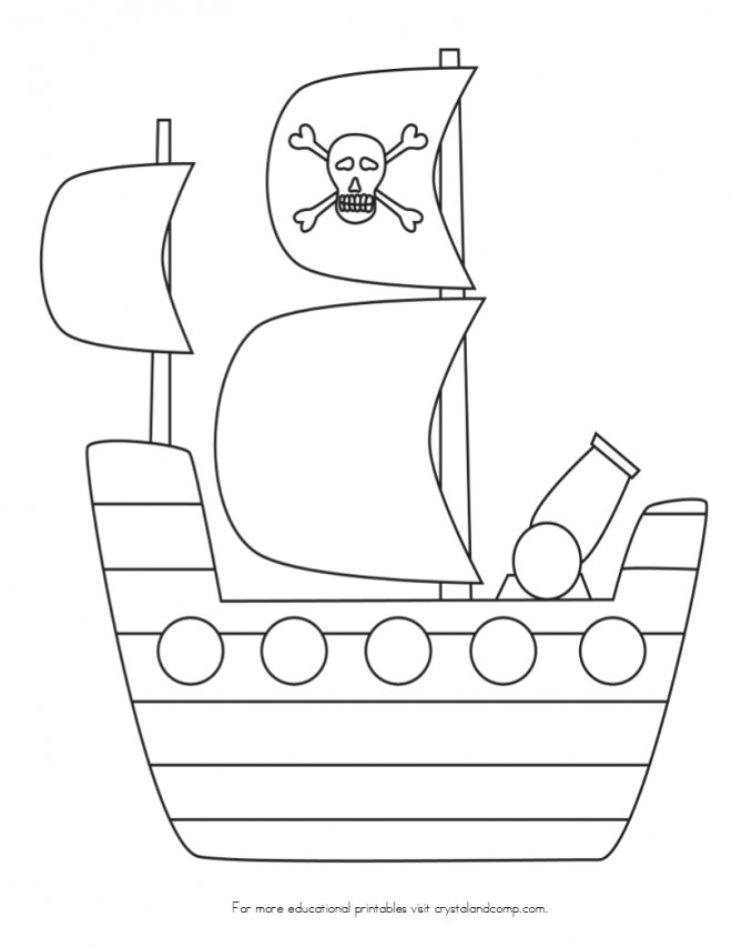 Coloriage Bateau Simple.Coloriage Bateau Pirate Simple Pour Decoration