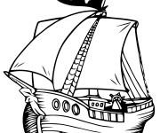 Coloriage Bateau Pirate vecteur