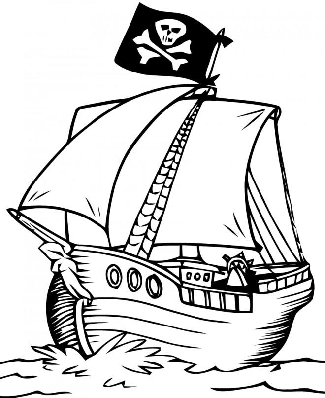Coloriage et dessins gratuits Bateau Pirate vecteur à imprimer