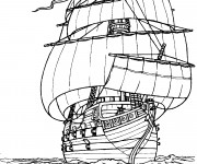 Coloriage Grand Bateau Pirate