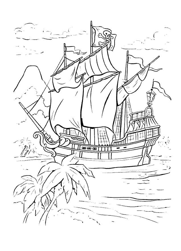 Coloriage et dessins gratuits Image Bateau Pirate à imprimer