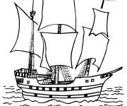 Coloriage Les pirates débarquent sur leur bateau