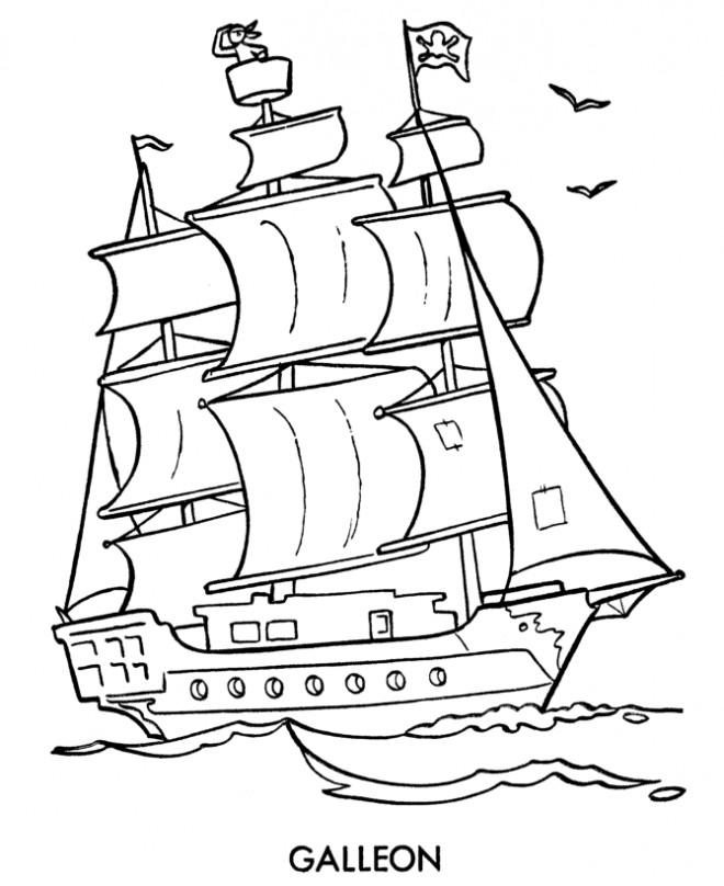 Coloriage et dessins gratuits Navire utilisé par les pirates à imprimer