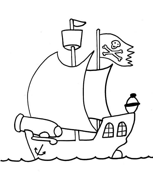 Coloriage et dessins gratuits Paysage de Bateau de Pirate couleur à imprimer