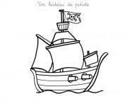 Coloriage Petit Bateau de Pirate