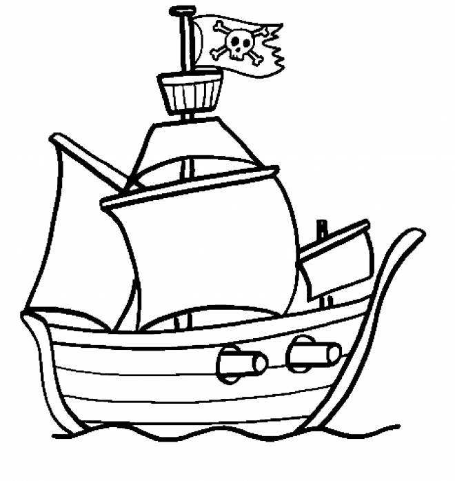 Coloriage et dessins gratuits Petit bateau pirates à imprimer
