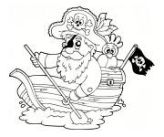 Coloriage Pirate sur un petit navire