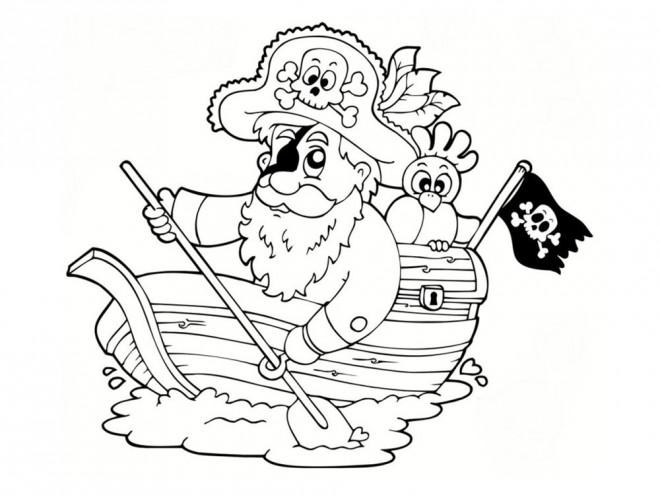 Coloriage et dessins gratuits Pirate sur un petit navire à imprimer
