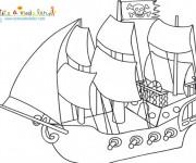 Coloriage et dessins gratuit Un Bateau de Pirate à voile à imprimer