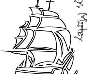 Coloriage Un Bateau Pirate vectoriel
