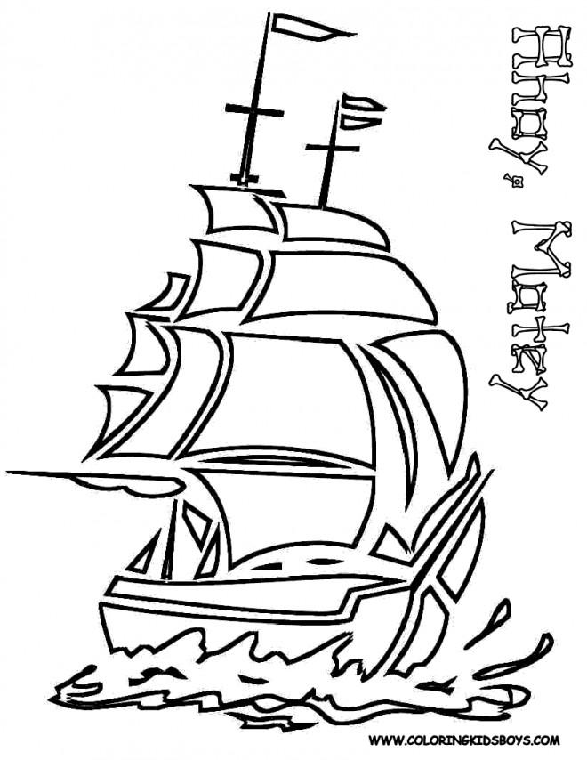 Coloriage et dessins gratuits Un Bateau Pirate vectoriel à imprimer