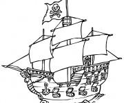 Coloriage Un Navire portant le drapeau de pirates