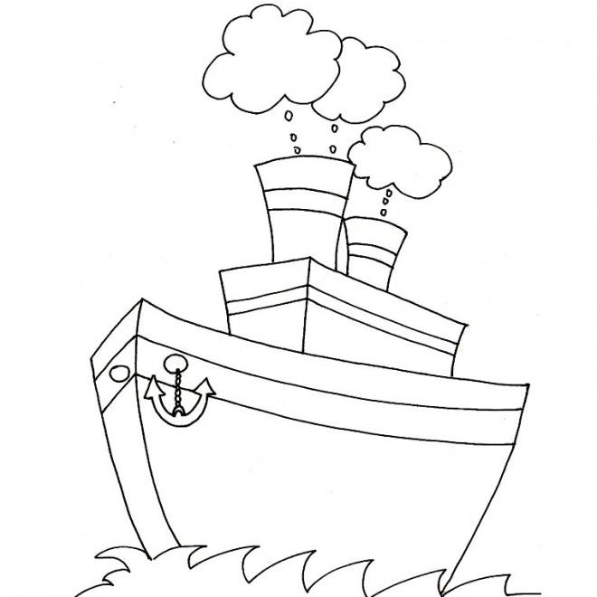 Coloriage et dessins gratuits Bateau à quatre cheminées à imprimer