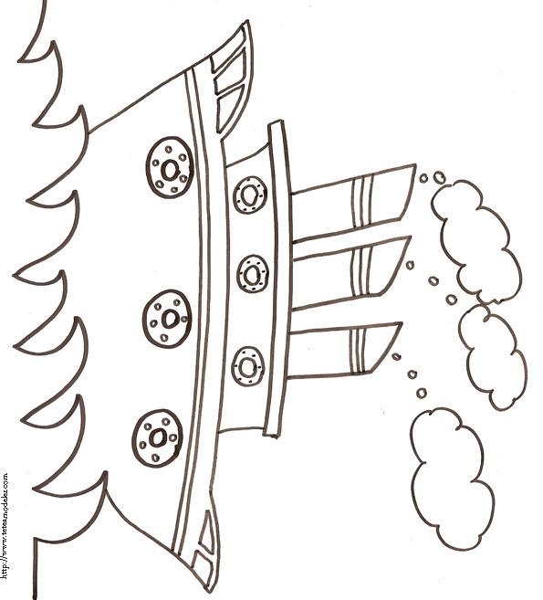 Coloriage et dessins gratuits Bateau à trois cheminées au crayon à imprimer