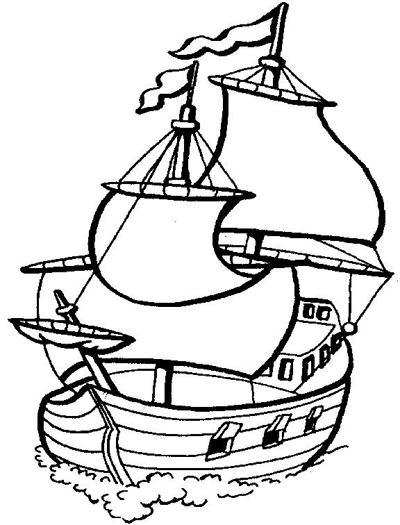 Coloriage et dessins gratuits Bateau à voile vectoriel à imprimer