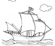 Coloriage et dessins gratuit Bateau anglais du Moyen Âge à imprimer