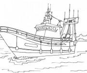 Coloriage et dessins gratuit Bateau de pêche dans l'eau à imprimer