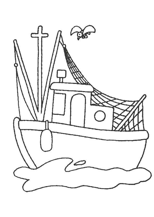 Coloriage et dessins gratuits Bateau de pêche maternelle à imprimer