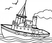 Coloriage et dessins gratuit Bateau qui navigue dans l'eau à imprimer