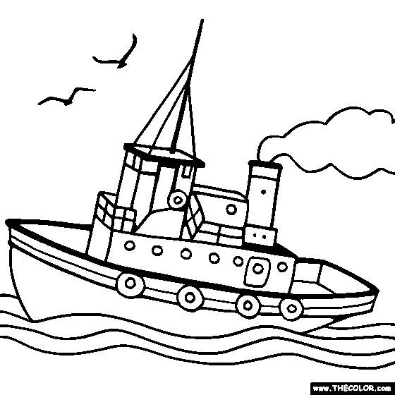 Coloriage et dessins gratuits Bateau qui navigue dans l'eau à imprimer