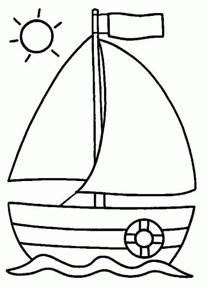 Coloriage bateau sous les rayon de soleil dessin gratuit imprimer - Dessin petit bateau ...