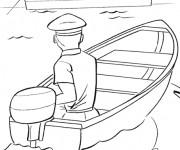 Coloriage et dessins gratuit Le marin navigue son Bateau à imprimer