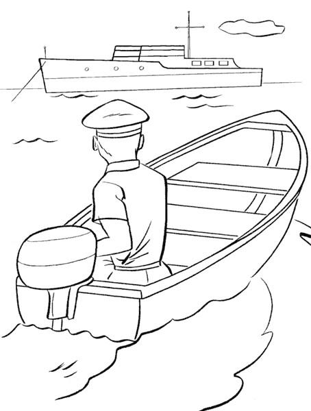 Coloriage et dessins gratuits Le marin navigue son Bateau à imprimer