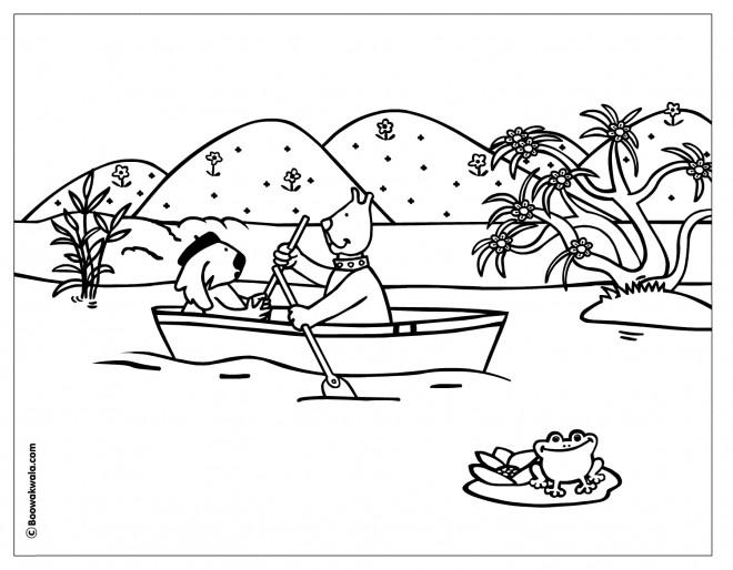Coloriage et dessins gratuits Les animaux naviguent leur Bateau à imprimer