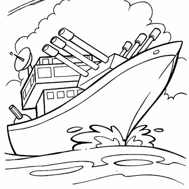 Coloriage et dessins gratuits navire militaire à colorier à imprimer