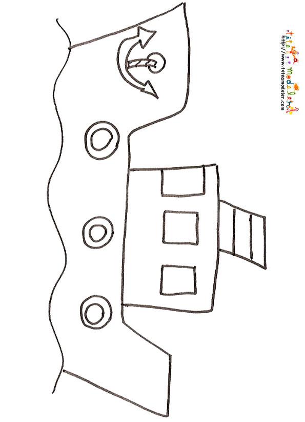 Coloriage et dessins gratuits Petit Bateau de pêche au crayon à imprimer
