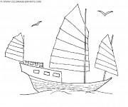 Coloriage et dessins gratuit Un Bateau en bois en voyage à imprimer