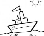 Coloriage et dessins gratuit Un paysage d'un Bateau de pêche dans la mer à imprimer