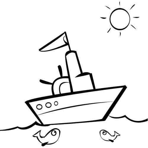 Coloriage Un Paysage Dun Bateau De Pêche Dans La Mer