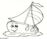 Coloriage et dessins gratuit Voilier rigolo à imprimer
