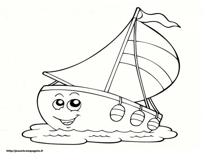 Coloriage voilier rigolo dessin gratuit imprimer - Dessin petit bateau ...