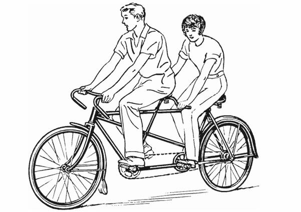 Coloriage et dessins gratuits Bicyclette à deux places à imprimer