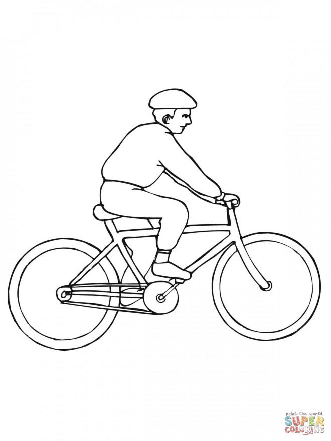 Coloriage Bicyclette Et Cycliste Dessin Gratuit A Imprimer