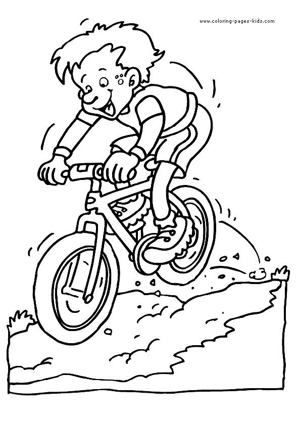 Coloriage et dessins gratuits Bicyclette VTT et Le Petit Garçon à imprimer