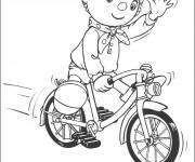 Coloriage Cycliste te salue dessin animé