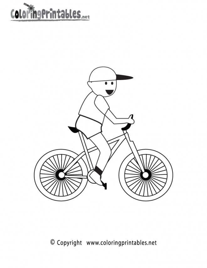 Coloriage Illustration D Enfant Sur Son Velo